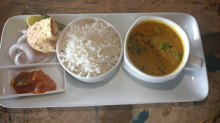 Macher Jhol and Steamed Rice
