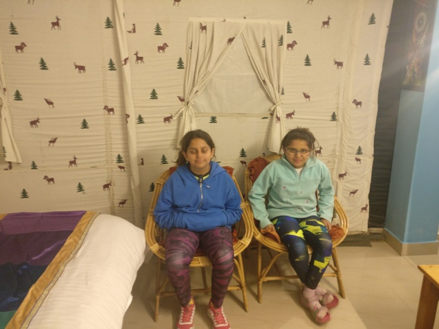 Cheryl and Arshiya in our Indigo themed tent