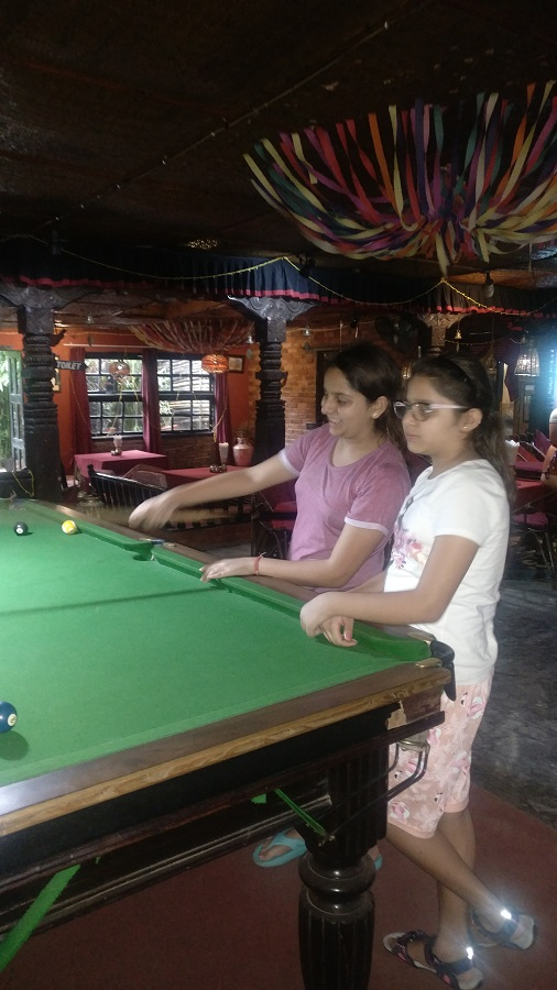 Snooker time as it rains outside in Pokhara